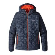 Patagonia M's Nano Puff Hoody, Navy Blue w/Paintbrush Red